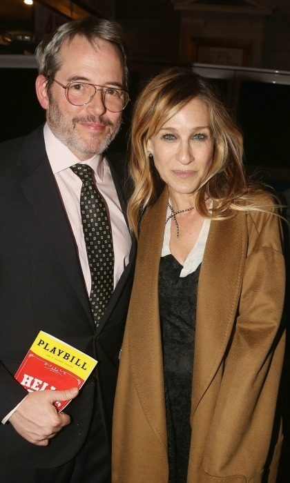 "Hello, date night! Matthew Broderick and Sarah Jessica Parker stopped for photos at Bernadette Peters' ""opening night celebration"" for <em>Hello, Dolly!</em> on Broadway at Sardis on February 22 in New York City."