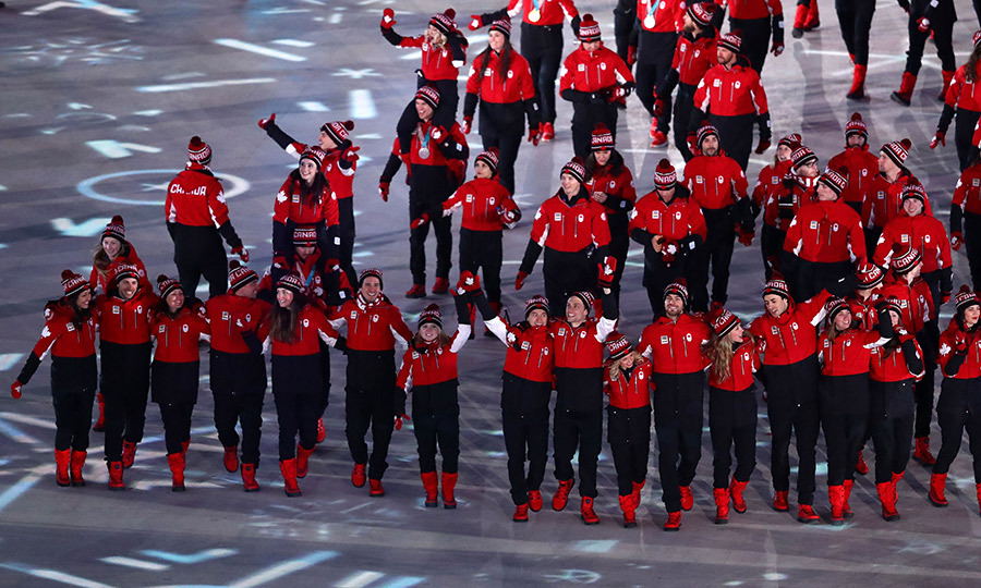 One last hurrah! Members of team Canada walked in the Parade of Athletes during the Olympics closing ceremony on Feb. 25.