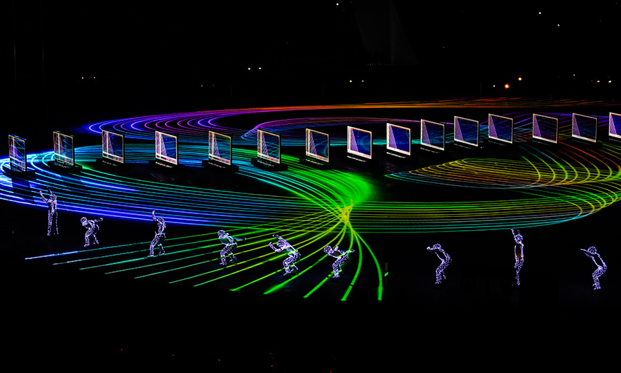 Entertainers performed during the Beijing segment of the closing ceremony, putting on a stunning light display for the crowds on Feb. 25.