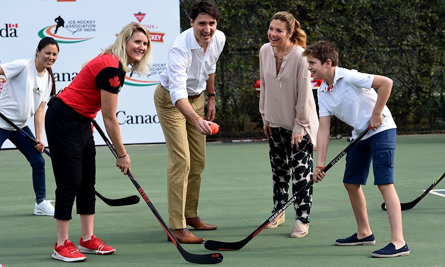 Justin, Sophie and Xavier faced off for a round of hockey!