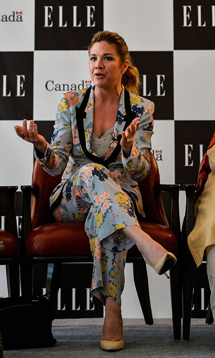 Sophie stunned, once again, in a gorgeous floral pantsuit and simple suede heels while speaking on a panel themed 'Women Economic Empowerment in Fashion and Culture,' which was organized by the Canadian High Commission and Elle Magazine in New Delhi on Feb. 23.