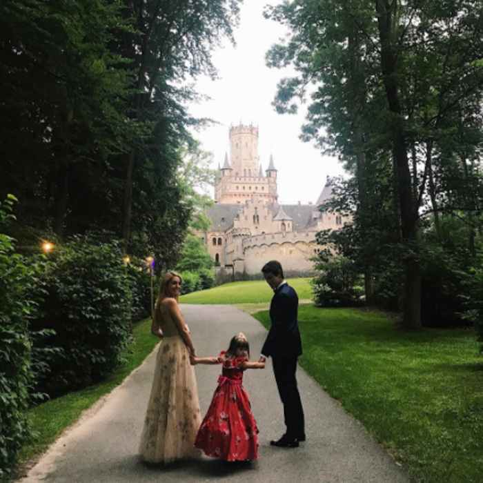 <p>Though the receptions were private, Princess Olympia of Greece, with Flynn Busson, gave a glimpse of the party with this glamorous photo snapped outside Marienburg Castle.</p>
