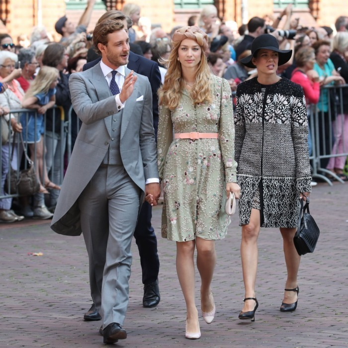 <p>Princess Alexandra's half siblings also attended. Charlotte Casiraghi, on right, looked elegant at the affair, donning a black and white ensemble and hat. She arrived at the event with her brother Pierre Casiraghi, left, who appeared dapper in a crisp suit, and his stylish wife Beatrice Borromeo, who wore a beige turban. </p>