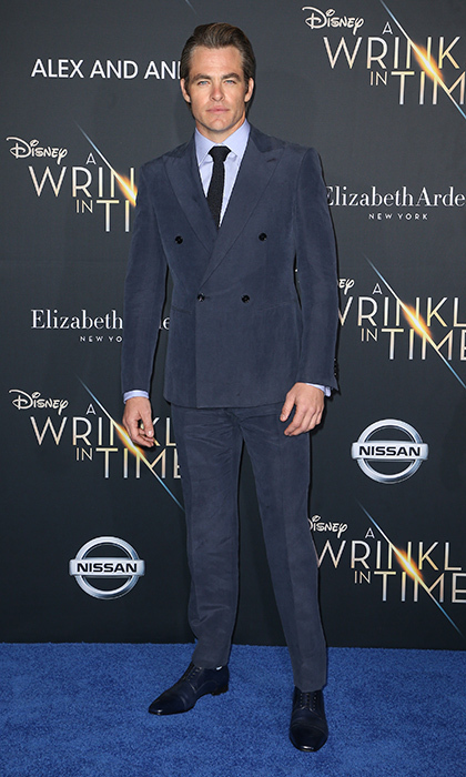 <p>Chris Pine sported a blue three-piece suit from Giorgio Armani.</p>