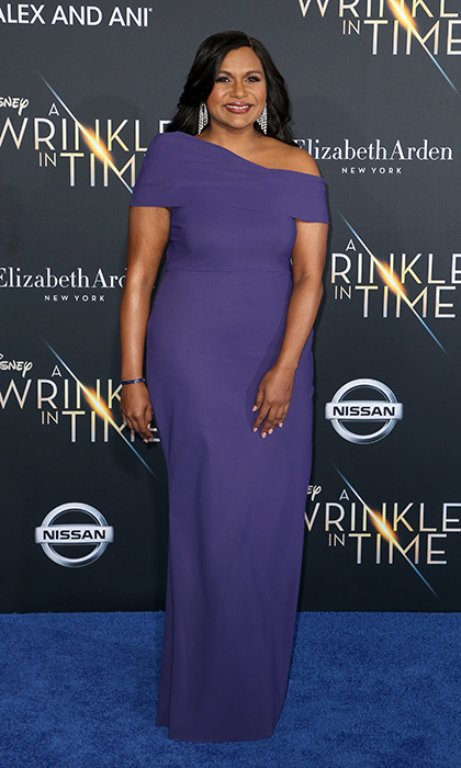 <p>Mindy Kaling, who gave birth to her daughter Katherine in December, wowed in a purple Greta Constantine dress with a structured neckline.</p>