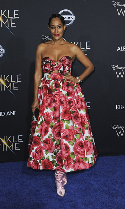 <p>Tracee Ellis Ross made a spring statement in a strapless floral dress from Michael Kors.</p>