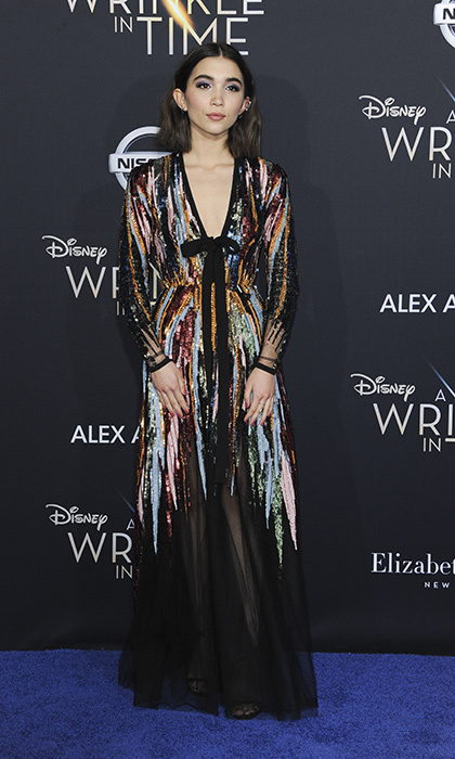 <p>Rowan Blanchard sparkled in multi-colored Elie Saab.</p>