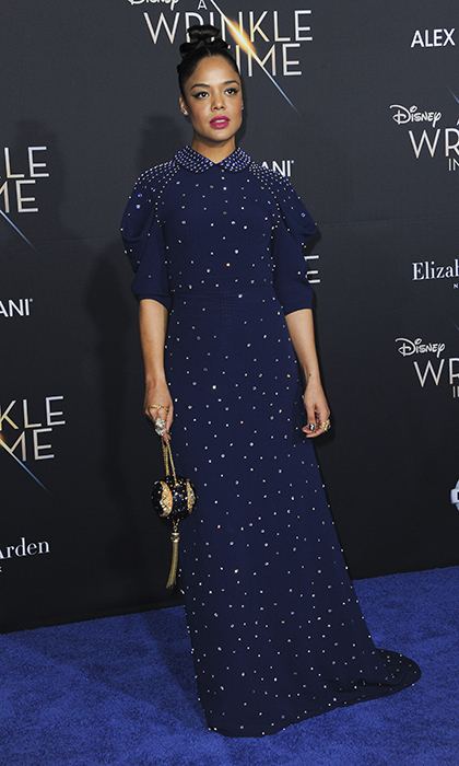 <p>Tessa Thompson chaneled the midnight sky in her twinkling dark blue gown.