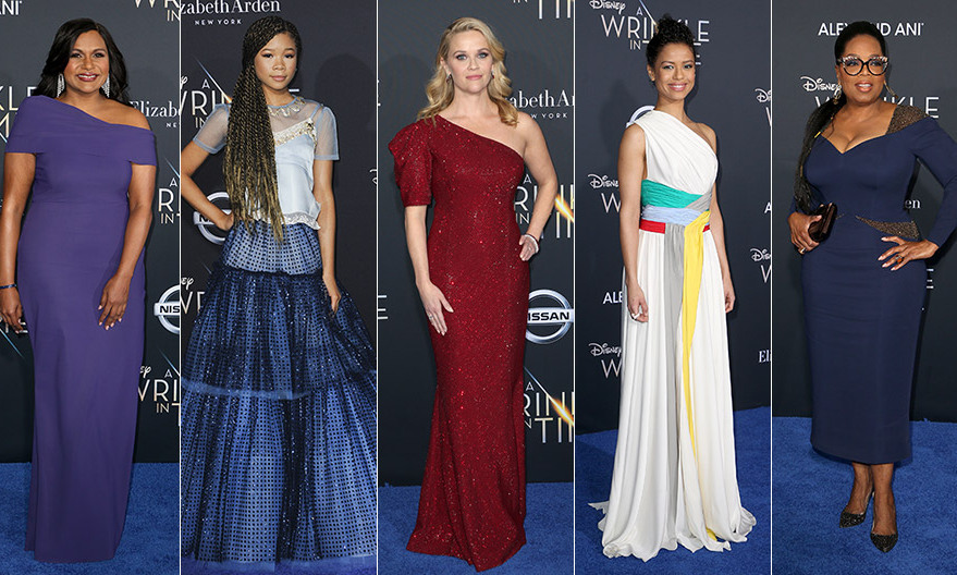 <p>A galaxy of stars hit the blue carpet at the El Capitan Theatre in Los Angeles on February 21 to celebrate the launch of Ava DuVernay's new film <em>A Wrinkle in Time</em>, an adaptation of the famed fantasy-adventure book which follows a young girl on a quest to find her father. Scroll through to see the movie's stars and celebrity supporters in their fairytale finest at the L.A. screening.</p>