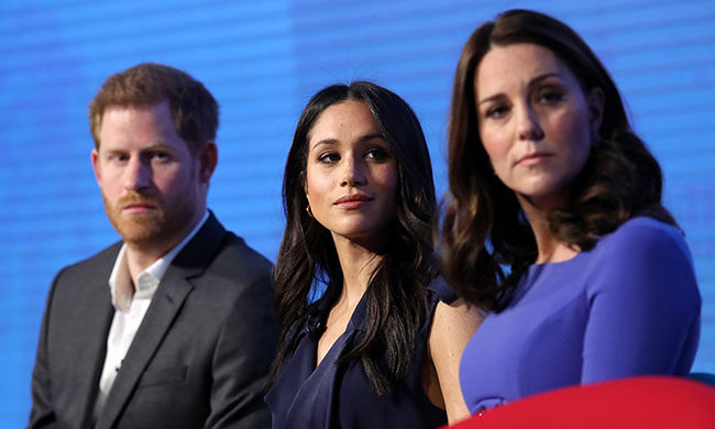"Prince Harry, his fiancé and Kate looked on as Prince William spoke about his experience working with their organization Heads Together. The four were attending the ""Making a Difference Together"" event on Feb. 28.