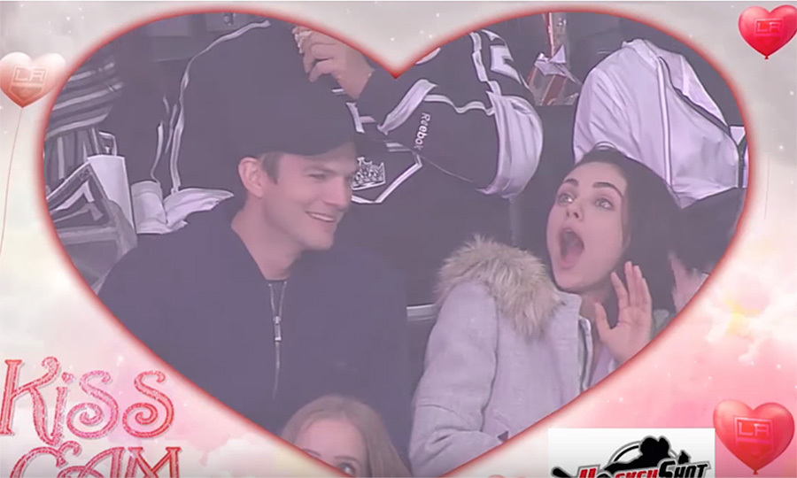 Mila Kunis was taken by surprise in more ways than one as she and husband Ashton Kutcher were enjoying a fun date night at the Vegas Golden Knights vs Los Angeles Kings hockey game at Los Angeles' Staples Center on Feb. 26. The couple were watching the action on the ice when when the Kings' Kiss Cam panned to the action in the stands – more specifically, the famous couple sitting in the audience! While Mila looked shocked by the attention and then started laughing, Ashton quickly prepped for the embrace by dramatically licking his lips. The 40-year-old actor then leaned in to kiss his other half, who happily reciprocated until her spouse turned up the heat for a full-on mega-smooch. At that point, Mila pulled away laughing hysterically, clearly unfazed by the famous prankster's antics.
