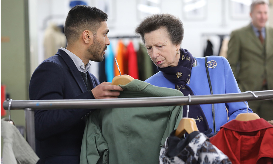 Queen Elizabeth's only daughter Princess Anne, President of the UK Fashion and Textile Association, was escorted by Mo Azam, Managing Director of Grenfell, as she officially opened the Grenfell factory in London on February 28.