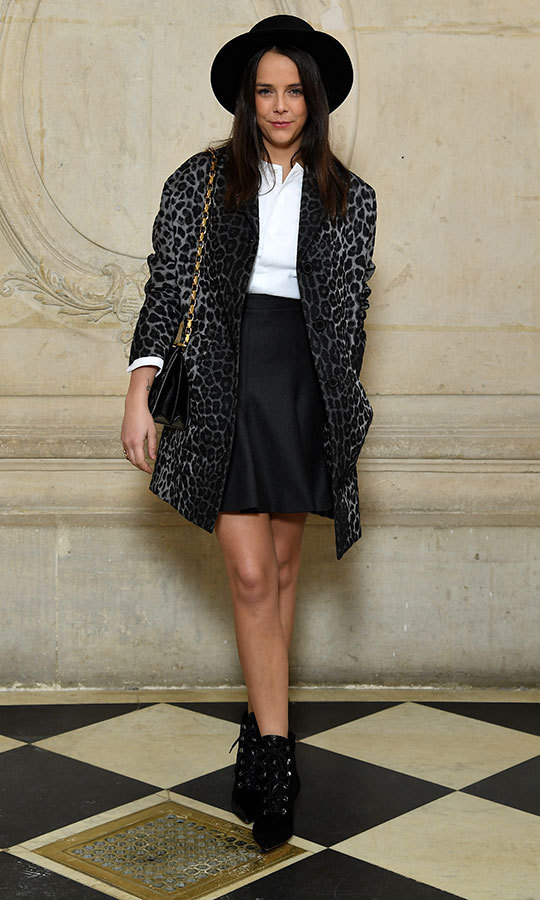Pauline Ducruet, daughter of Princess Stephanie of Monaco, struck a pose showing off her stylish ensemble before attending the Christian Dior show. 