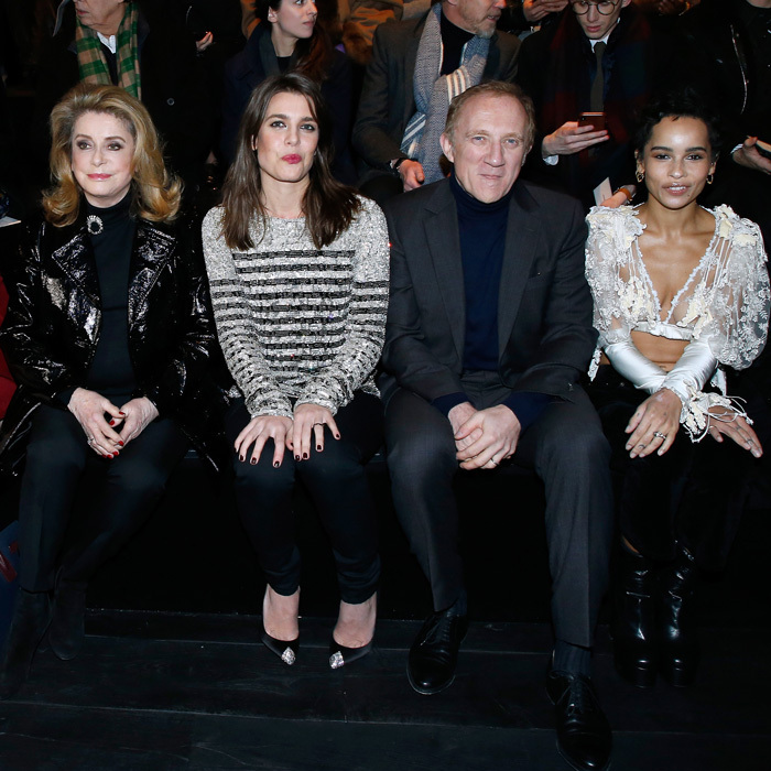 Pauline wasn't the only member of her royal family at the Paris shows! Princess Grace's oldest granddaughter Charlotte Casiraghi (second from the left), hit the Paris Fashion Week circuit attending the Saint Laurent show. The Monaco royal was in good company sitting alongside Catherine Deneuve, Francois-Henri Pinault and Zoe Kravitz.