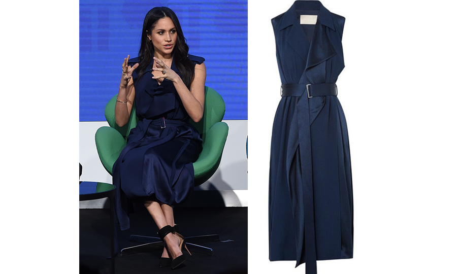 "For the first-ever official joint appearance of the ""Fab Four,"" Meghan turned to a navy trench-style dress by Canada-raised, New York-based Jason Wu, looking fabulous as she anchored the look with black pumps featuring a thick ankle strap. The quad were in London for an event themed ""Making a Difference Together"".