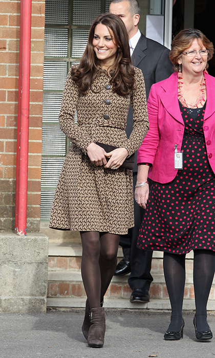 <p> Duchess Kate has worn the Birdie print dress by Orla Kiely on numerous occasions, including this February 2012 visit to Oxford, England to see the work of the charity Art Room. </p>