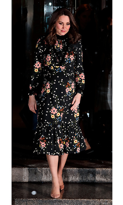 <p>Pregnant Kate brought some florals to a frosty London evening as she went to the National Portrait Gallery on February 28. The amateur photographer took in the Victorian Giants: The Birth of Art Photography exhibition, dressing her baby bump in a Leith x Orla Kiely Margaret Smock Bib Floral Print dress.</p>