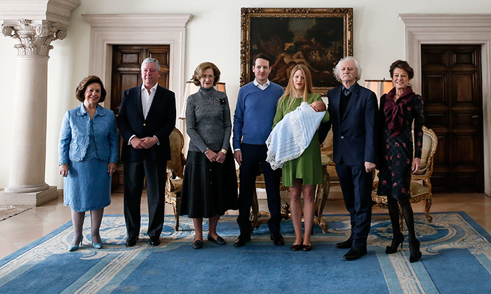 The proud grandparents were excited to pose with their newest addition! Princess Katarina Karadjordjevic, Crown Prince Aleksadar Karadjordjevic, Princess Maria da Gloria, Milan Cile Marinkovic and Beba Marinkovic joined their children to present Philip and Danica's first born on Mar. 2 at the Royal Palace.
