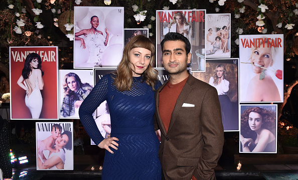 <i>The Big Sick</i> writers Emily V. Gordon and Kumail Nanjiani cozied up at the Vanity Fair and Lancome Women In Hollywood event. The couple's biographical film is up for an Oscar for best original screenplay.