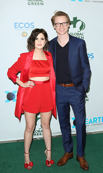 Actress Laura Marano and Canadian star Calum Worthy posed for a stylish photo at the Global Green party on Feb. 28.