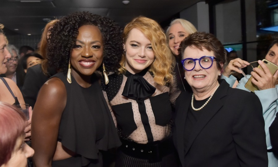 "Power trio! From past to present, Emma Stone has worked with some amazing ladies. The actress was sandwiched by her former <i>The Help</i> co-star Viola Davis and her <i>Battle of the Sexes</i> buddy Billie Jean King at the ""Women in Film"" cocktail party. All three stars gave a nod to the Time's Up movement, repping black fashion statements. 