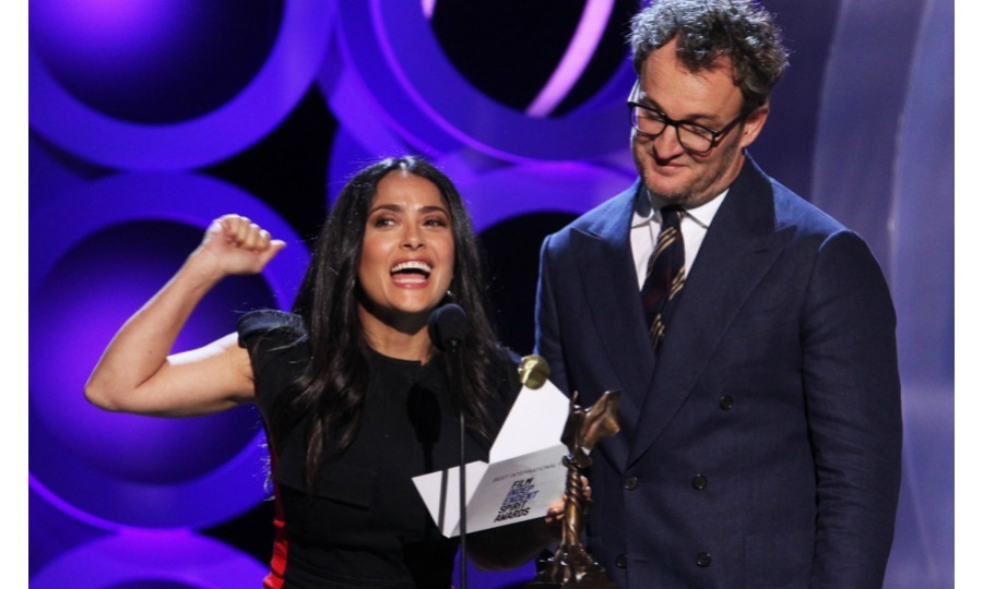 "Salma Hayek and Jason Clarke had some fun onstage while presenting the award for ""Best International Film.""