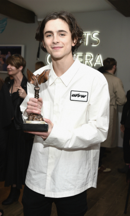 "<p>""Best Male Lead"" alert! Timothée Chalamet looked ecstatic to be taking home the coveted award for his performance in <em>Call Me By Your Name.</em></p> 
