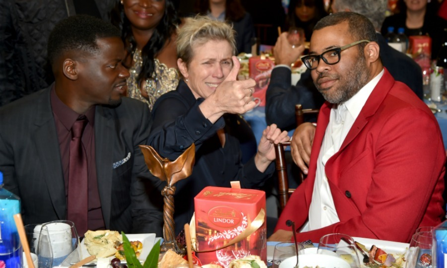 "Daniel Kaluuya and Jordan Peele, who took home ""Best Feature"" for <em>Get Out</em>, talked with fellow winner Frances McDormand.