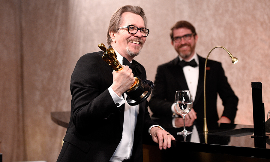 Gary Oldman, who took home Best Actor for <i>Darkest Hour</i>, headed to the engraving station to cement his Oscar winner status. 