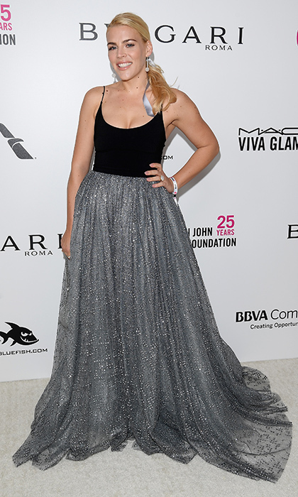 <p>Busy Philipps opted for the metallic trend in this sparkling sparkly silver dress at the Elton John bash.</p>