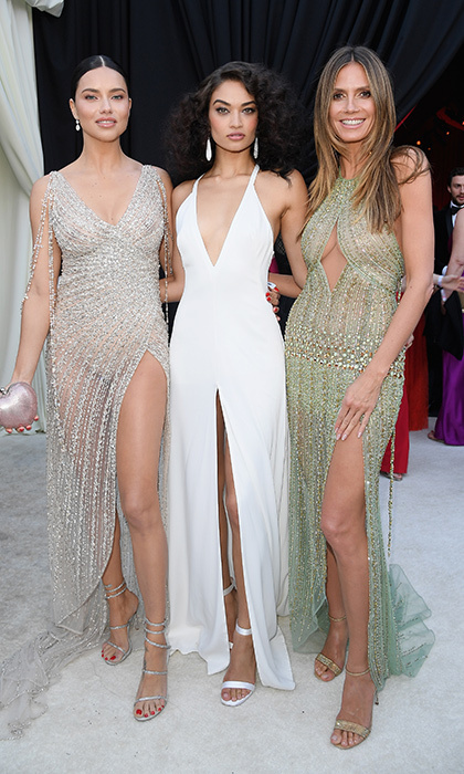<p>Supermodels Adriana Lima, Shanina Shaik, and Heidi Klum were a fierce trio at the Elton John AIDS Foundation party, held at The City of West Hollywood Park.</p>