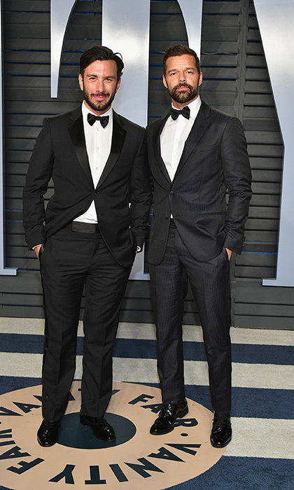 <p>Celebrity couple Jwan Yosef and Ricky Martin looked handsome in black tuxedos with matching black bow ties.</p>
