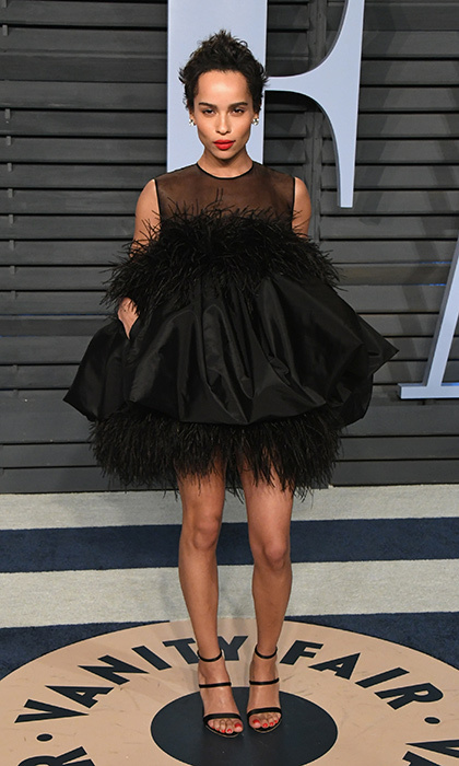 <p><em>Big Little Lies</em> star and singer Zoe Kravitz wore a fun minidress with black heels on Oscar night.</p>