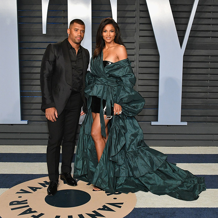 <p>Russell Wilson and wife Ciara were one of the night's elegant couples. The singer stunned in a turquoise, Alexandre Vauthier gown while the NFL player wore an all-black suit.</p>
