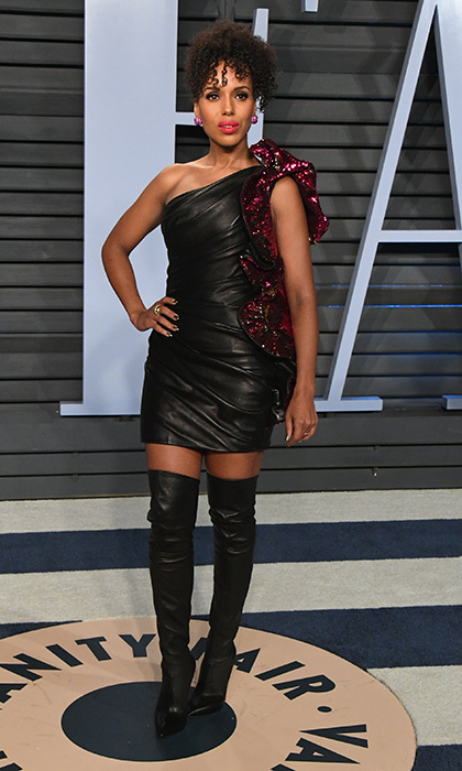 <p><em>Scandal</em> star Kerry Washington wore an edgy look – a leather Alexandre Vauthier dress and Lorraine Schwartz jewelry, with leather thigh-high boots.</p>