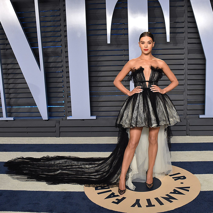 <p>Hailee Steinfeld looked like a princess in a black and cream Giambattista Valli tulle dress with a long, black train. The star paired the gown with polka-dotted Louboutins.</p>