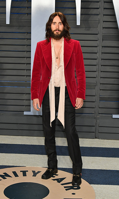 <p>Jared Leto rocked Gucci while attending the 2018 Vanity Fair Oscar Party. The star had a lot to celebrate after the film in which he co-starred, <em>Blade Runner 2049</em>, picked up the Oscars for Best Cinematography and Best Visual Effects.</p>