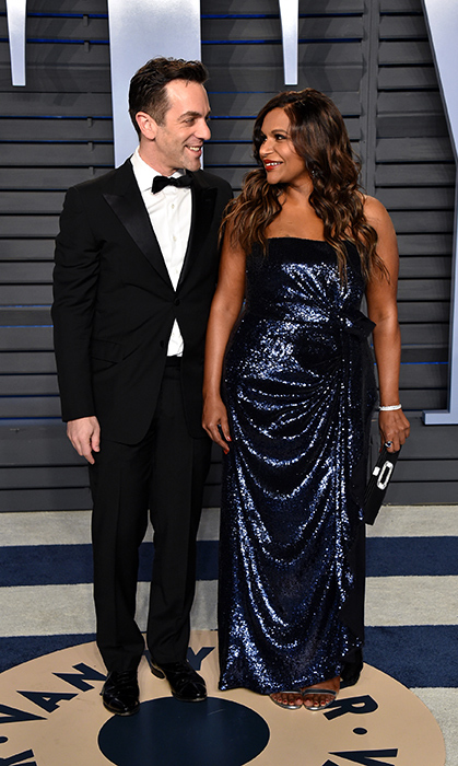 Old friends! Mindy Kaling and B.J. Novak first met on <i>The Office</i>, and here they are today - posing at Vanity Fair's big after-party!