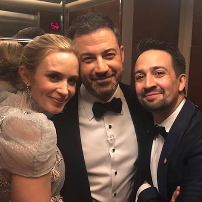 "<p>Host Jimmy Kimmel captured this ""elevator break"" with Emily Blunt and Lin-Manuel Miranda.</p>