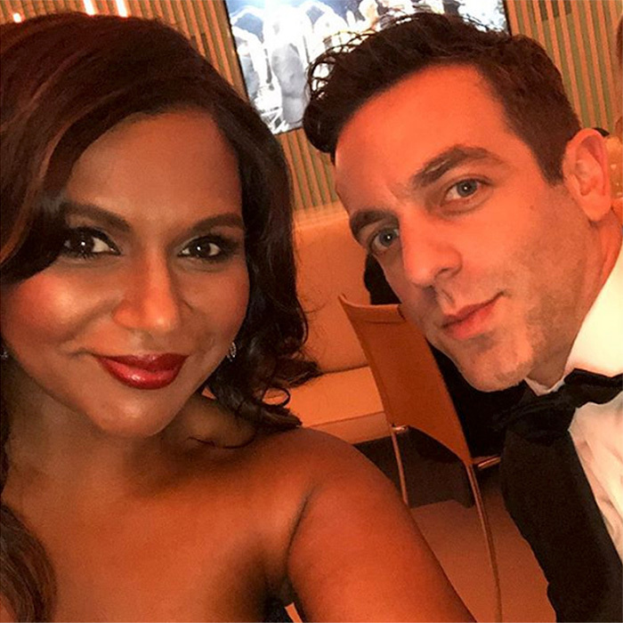 <p>Mindy Kaling shared a sweet selfie with her date for the night – her co-star on <em>The Office</em>, B. J. Novak!</p>