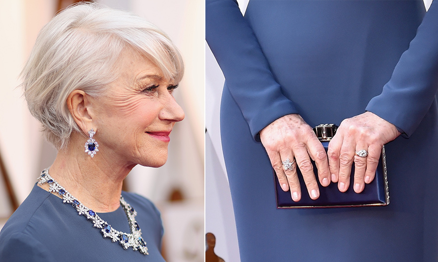 Another fabulous talent who represented Harry Winston was the stunning Helen Mirren. Donning more than $3.8 million in sapphire and diamonds, the actress shined bright in a cushion-cut sapphire and diamond necklace set in platinum. The icing on the cake of a look that's surely fit for a queen was a pair of gorgeous diamond rings.