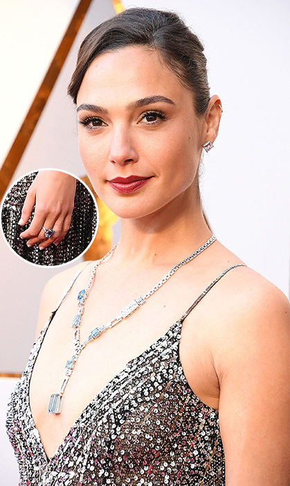 Gal Gadot of <i>Wonder Woman</i> fame gave us major diamond envy on the red carpet. Being the first to wear Tiffany & Co.'s new 2018 Blue Book Collection, the Israeli star wore their 27-carat aquamarine drop with more than 1000 diamonds total! She also wore the matching diamond ring. Prices are not yet available for these brand new items but we can only imagine...