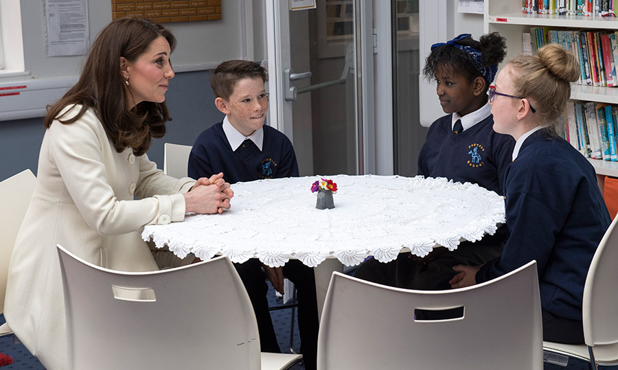 On her Mar. 6 royal engagement, Duchess Kate sat with pupils Jodie, Zhara and Emilia on her visit to Pegasus Primary School in London. The royal was there to learn more about the work of the charity Family Links Family Links, which works closely with schools nationwide to support both children and parents with their emotional health and wellbeing.