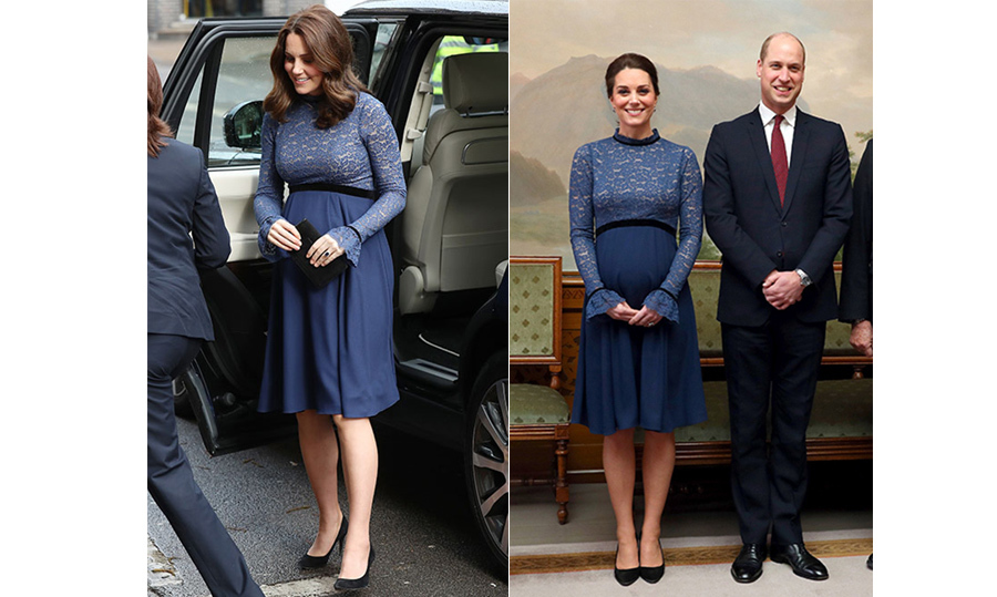 In one of her most-worn hues, Duchess Kate stepped out for a second time in London on Mar. 6 in this blue lace Seraphine number. She first wore the gorgeous ensemble on Feb. 1 while she and Prince William were on royal tour in Norway.