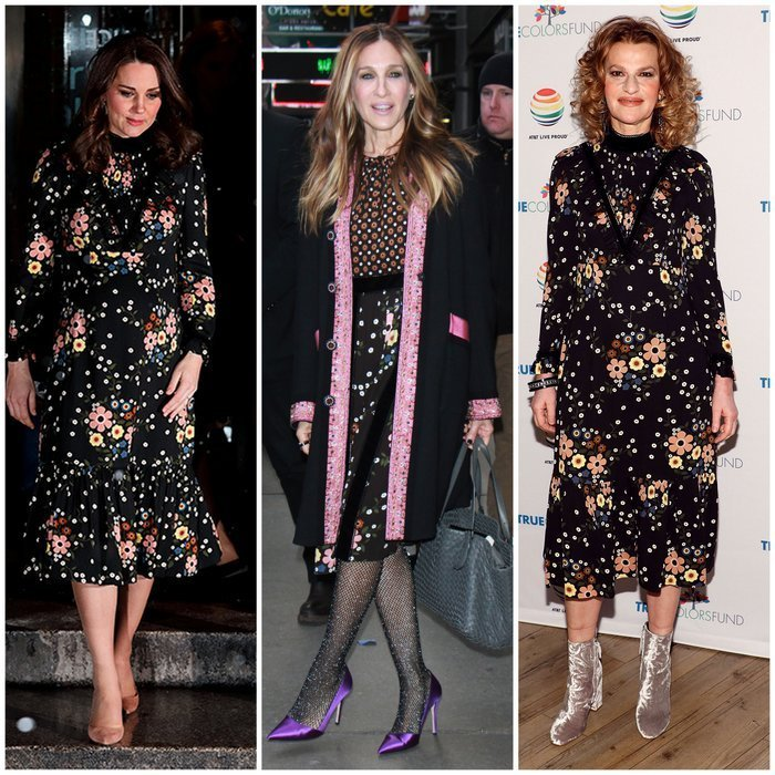 Royals and celebrities alike are loving Orla Kiely's dark floral print with dots – but who wore it first? Kate Middleton wore the Leith x Orla Kiely Margaret Smock Bib Floral Print dress for a February 2018 outing to the National Portrait Gallery in London, left, and Sarah Jessica Parker, center, wore a skirt featuring the print out in New York City in January. The first famous name we spotted wearing the Orla Kiely design, though, was actress and comedian Sandra Bernhard, right, who sported it at Cyndi Lauper's 2017 'Home for the Holidays' concert benefitting the True Colors Fund at Beacon Theatre on December 9, 2017 in NYC.