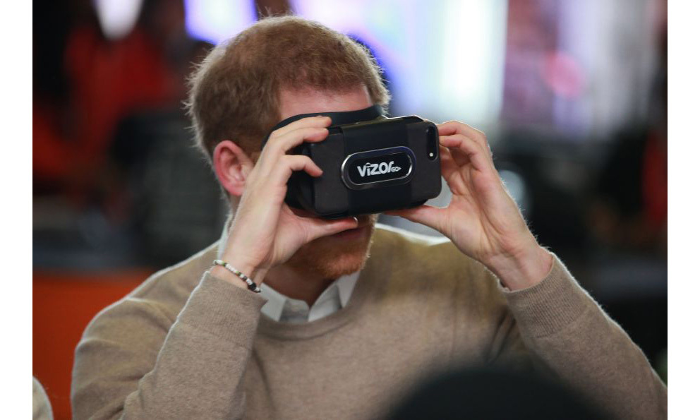 "<p>Harry and Meghan both donned futuristic VR headsets during their first engagement of the day. They joined students from Blessed Edward Oldcorne School in Birmingham before looking at other technology such as pianos made from bananas and how to ""hack the web"".</p>