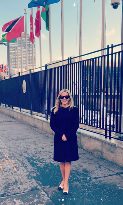 "Reese Witherspoon took to Instagram to wish her fans a happy International Women's Day. Along with a series of photos, the actress wrote, ""So excited and honored to be at the @unitednations today on #IWD2018 to talk with activists & leaders about women's rights! @elizabetharden, #TogetherWeMarchOn @timesupnow #TimesUp @unwomen. Happy International Women's Day everyone!""