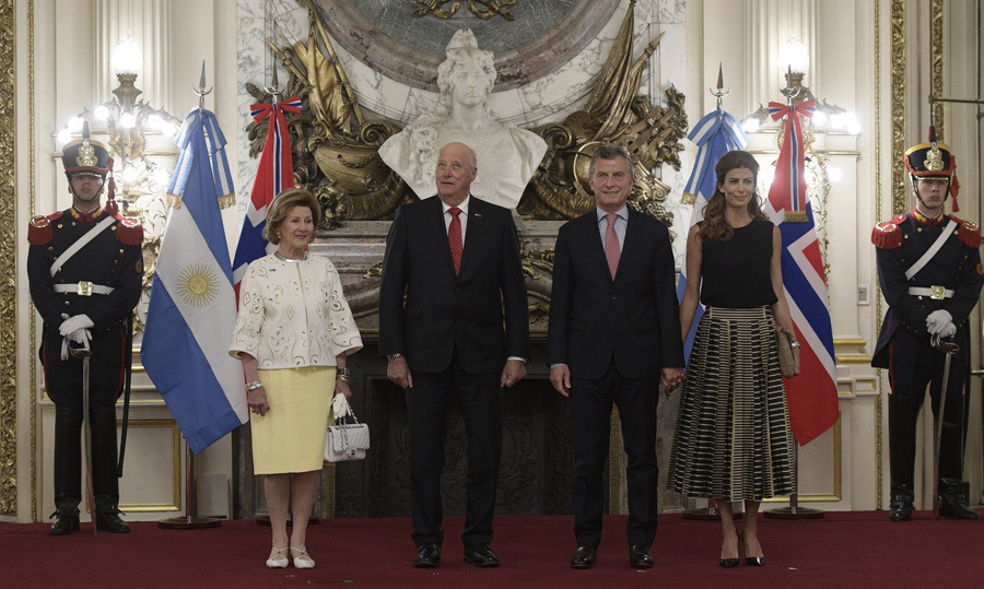 Norway's King Harald V and Queen Sonja posed for a photo with Argentine President Mauricio Macri and his wife First Lady Juliana Awada at the Casa Rosada presidential palace in Buenos Aires, on March 6.