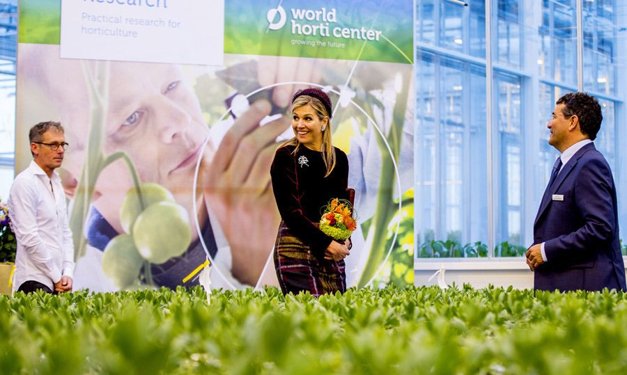 Queen Maxima was a flower in a sea of green as she opened the World Horti Center, which is an international information and innovation center for greenhouse cultivation.
