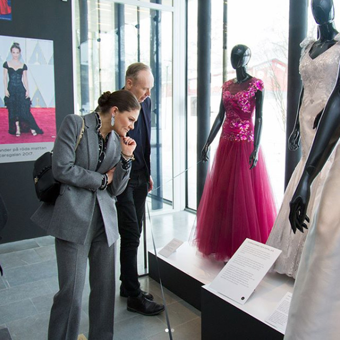 "Crown Princess Victoria visited the ""Couturens hemligheter"" (The Secrets of Couture) exhibition on March 6 at the Sven-Harry Art Museum in Stockholm. Two of the future Queen's dresses are displayed as well as gowns from Queen Silvia, Princess Madeleine, Princess Sofia, Queen Margrethe and Alicia Vikander. The exhibition raises questions about the relevance of haute couture in today's fashion and how the traditional craft can be combined with future demands for sustainability and material renewal. 